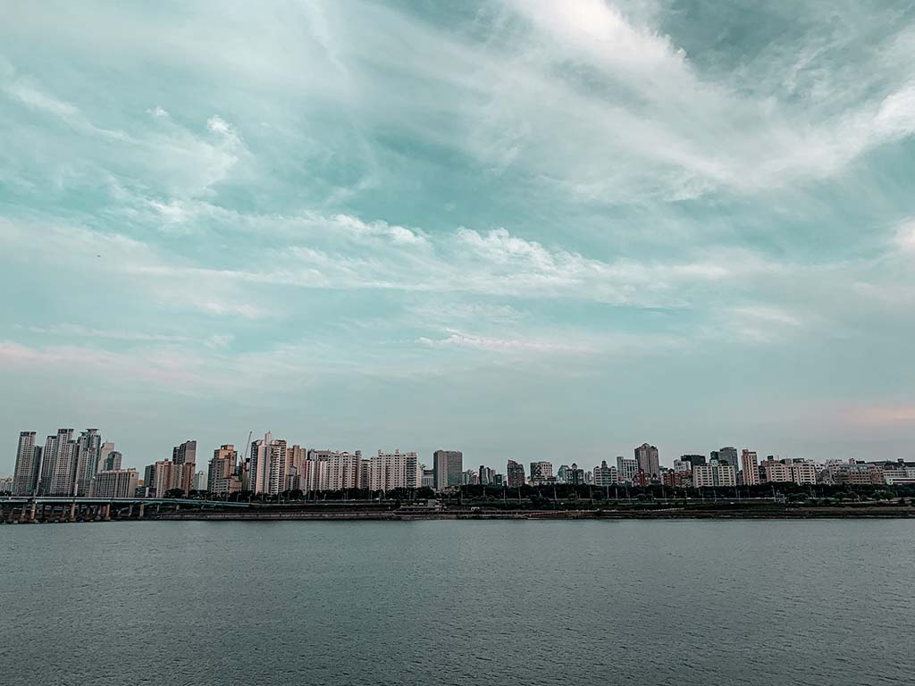 Skyline and Han River in South Korea
